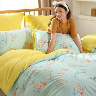 MERCURY 水星家纺 水星家纺 床上四件套纯棉床上用品被套床单枕套双人全棉被罩套件 清霜醉风 1.8M(5英尺)床