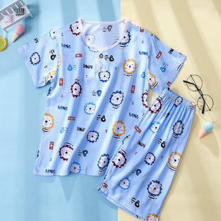 Nan ji ren 南极人 南极人儿童睡衣家居服男童睡衣夏季薄款圆领短袖宝宝家居服套装