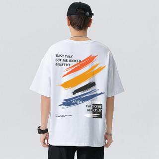 d&x 2021年夏季新款经典涂鸦印花男式圆领休闲宽松男士短袖T恤
