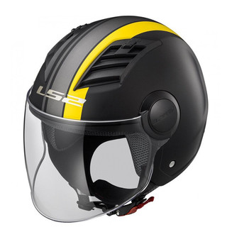 LS2摩托车头盔男女士半覆式安全帽子复古个性电动车防晒四季半盔OF562 哑黑/黄双线  L(建议55-56头围)