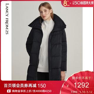 LANCY FROM25 朗姿 朗姿银葱针织黑色羽绒服2020年秋冬新款休闲宽松短款白鸭绒外套女