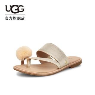 UGG 夏季女士凉鞋平底金属色毛毛球甜美夹脚仙女凉拖鞋 1101349