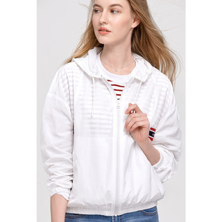 Hush Puppies 暇步士 女装2021新春季白色运动休闲薄外套|HJ-21131D