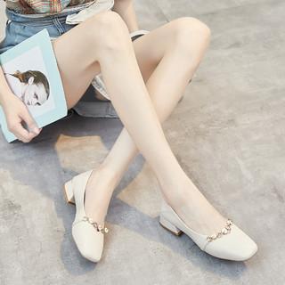 Cover 卡文 单鞋女舒适两穿豆豆鞋时尚女鞋春秋款浅口鞋子女单鞋 米色