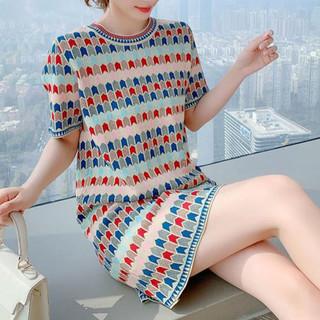 Puella 拉夏贝尔旗下新款格纹撞色复古直筒显瘦优雅气质短袖针织连衣裙女