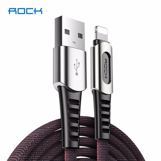 洛克(ROCK)苹果数据线 iPhone6/8plus/7手机快充充电器线XsMax/XR电源USB 魔力黑接口加固版