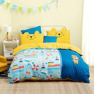 MERCURY 水星家纺 水星家纺 床上四件套纯棉 全棉斜纹床品套件被套床单被罩 歌狮达 加大双人1.2米床