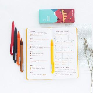 kinbor彩色中性笔5支装按动水笔0.5mm可替换水性笔子弹头走珠笔糖果色磨砂笔杆 秋实