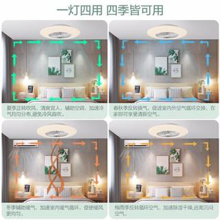 OPPLE隐形扇风扇客厅餐厅卧室家用简约现代电扇灯具吊扇FS 加大款-玉柔直径60