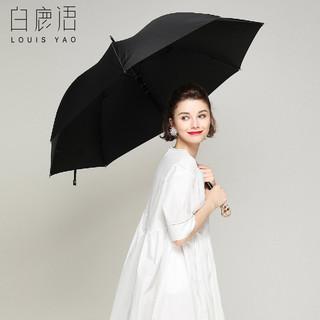 白鹿语 骷髅头直柄雨伞黑色直杆白镍五金配件自动伞骨雨伞 黑色 均码(63cm*8k)