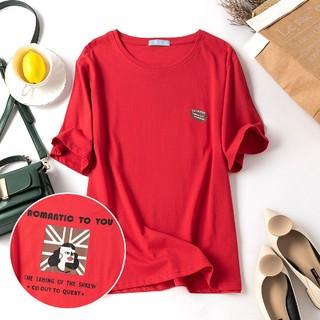Oxnoor 欧赛尔洛 女款圆领韩范学院风中长款上衣简约可爱人像印花宽松短袖T恤