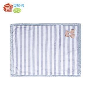 贝贝怡婴幼儿宝宝双层毛毯午睡毯盖毯推车毯儿童法兰绒空调毯 灰色 均码(100*75CM)
