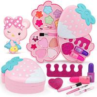 奥智嘉 儿童玩具女孩化妆品安全水洗彩妆化妆盒过家家口红指甲油化妆玩具 甜蜜草莓美妆盒新年礼物