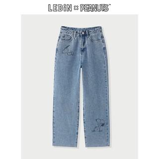 LEDIN 乐町 C3HAB1302 女士印花牛仔裤