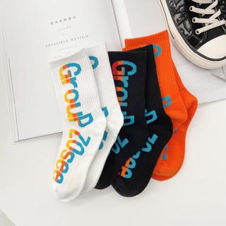 左西男童袜子儿童加厚童袜运动字母洋气男孩中大童春秋新款长筒袜子 三色一组 均码