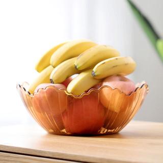 茶花简约花式果盘多用干果盘零食盘透明客厅水果盘 颜色随机1个