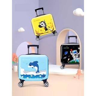 咔米嗒儿童行李箱男童拉杆箱卡通旅游小孩女宝宝万向轮16吋旅行箱卡通皮箱旅行箱 bag18014  森林激萌16寸旅行箱-黑色太空