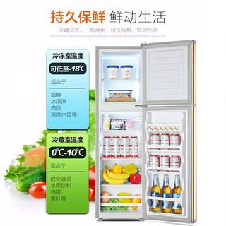 雪花(SNOWFLK)双门小冰箱家用 迷你宿舍租房 冷藏冷冻保鲜 小型双开门电冰箱 BCD-98A168银色 升级款