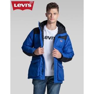 LEVI Levi's李维斯 男士休闲字母LOGO刺绣连帽羽绒服56585-0003 拼接色 M
