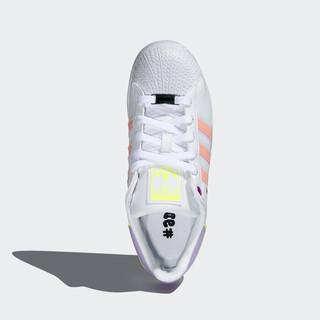 阿迪达斯官网adidas三叶草 SUPERSTAR BOLD W女子经典运动鞋FZ3651 白/紫/朦胧珊瑚粉 36(220mm)