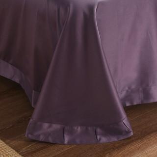 克努帛 美国100支匹马棉贡缎纯棉四件套 纯色高密度全棉长绒棉套件 QJ100s棉-丹砂紫 1.5米/1.8米床(被套200*230cm)