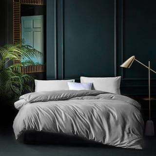千丝雪60支长绒棉纯棉四件套床上用品床单被套 浅灰 1.5-1.8米床/适用200*230被子