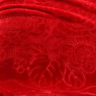 辰枫家纺 新款压花拉舍尔毛毯加厚保暖毯子婚庆四季盖毯床上用品 么么蓝+芥末黄 150*200cm被套