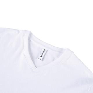 真维斯短袖t恤男夏装男士修身V领纯色休闲纯棉上衣学生打底白体恤 白色210A XXL