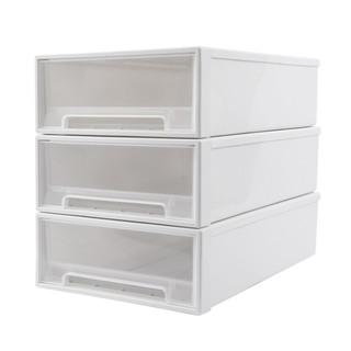 天马抽屉式收纳箱透明塑料盒玩具衣服整理箱子桌面杂物箱特大号组合装储物柜 T4418白色 【3件装】