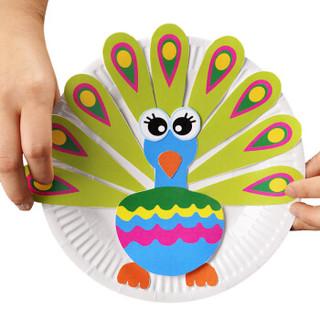 芙蓉天使儿童手工diy制作材料包幼儿园早教益智创意3d立体纸盘纸杯贴纸画粘画玩具 A款动物(纸盘10个+造型卡10张)