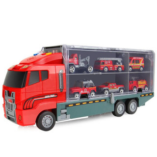 豆豆象 儿童玩具车工程车消防车手提收纳大货柜车小汽车玩具儿童早教益智玩具男孩节日礼物 工程货柜车(配6辆合金小车)