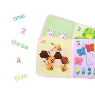 jollybaby/祖利宝宝蒙特梭利蒙氏教具儿童早教玩具撕不烂婴儿布书2-3-4-5岁 WLTH8177J-7(净粉色)