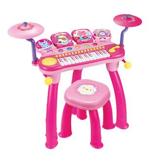 宝丽/Baoli 架子鼓玩具儿童电子琴带麦克风初学者敲打乐器3-6岁 1601DJ版架子鼓粉色