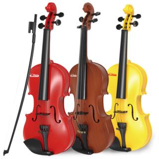 宝丽/Baoli 儿童乐器小提琴可弹奏初学入门 宝宝仿真音乐早教益智玩具3-6岁男孩女孩 黄色
