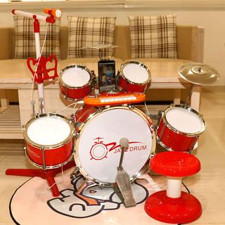 Baoli 宝丽儿童架子鼓3-6岁敲打鼓乐器益智玩具宝宝音乐玩具大号爵士鼓男孩女孩初学 1704红色