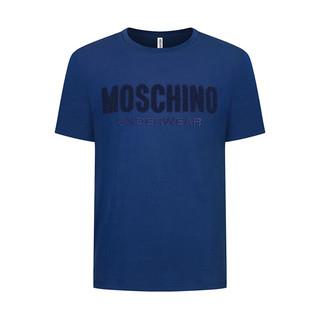 莫斯奇诺 MOSCHINO UNDERWEAR  男士蓝色棉质字母LOGO刺绣圆领短袖T恤 1 A1912 8127 0290 L码
