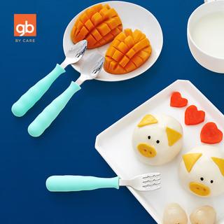 gb好孩子不锈钢叉勺组配PP盒套装幼儿宝宝训练叉勺组儿童餐具套装