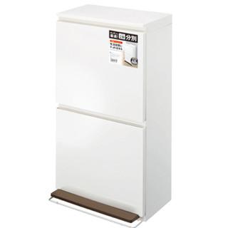 日本ASVEL双层分类垃圾桶大号 厨房家用干湿分离小型脚踏垃圾箱 白色40L