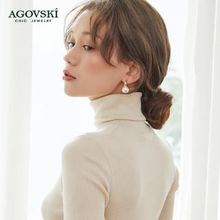 Agovski蔻斯琦圆环珍珠耳环小众设计简约百搭冷淡风气质耳钉女