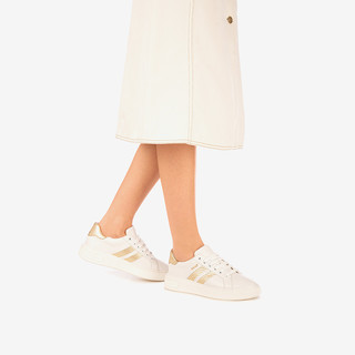 BALLY/巴利2021新款MARCUS-I-W女士白金色皮革运动小白鞋6237820 6/39码