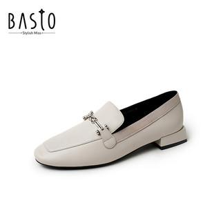 百思图春季商场同款羊皮气质百搭小方跟乐福鞋女浅口单鞋T5175AQ0