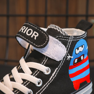 回力童鞋旗舰店儿童帆布鞋2021春秋新款女童高帮手绘布鞋男童鞋子
