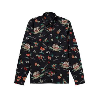 普拉达 PRADA 男士棉黑色印花衬衫 UCN123S192-1VY1-F0002 40