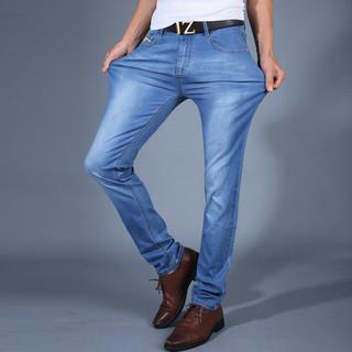 夏季超薄款修身小脚高弹力牛仔裤男弹性青年显瘦浅蓝色长裤子男装