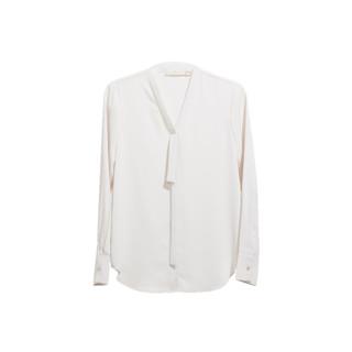复古温柔风,女式丝感飘带长袖衬衫
