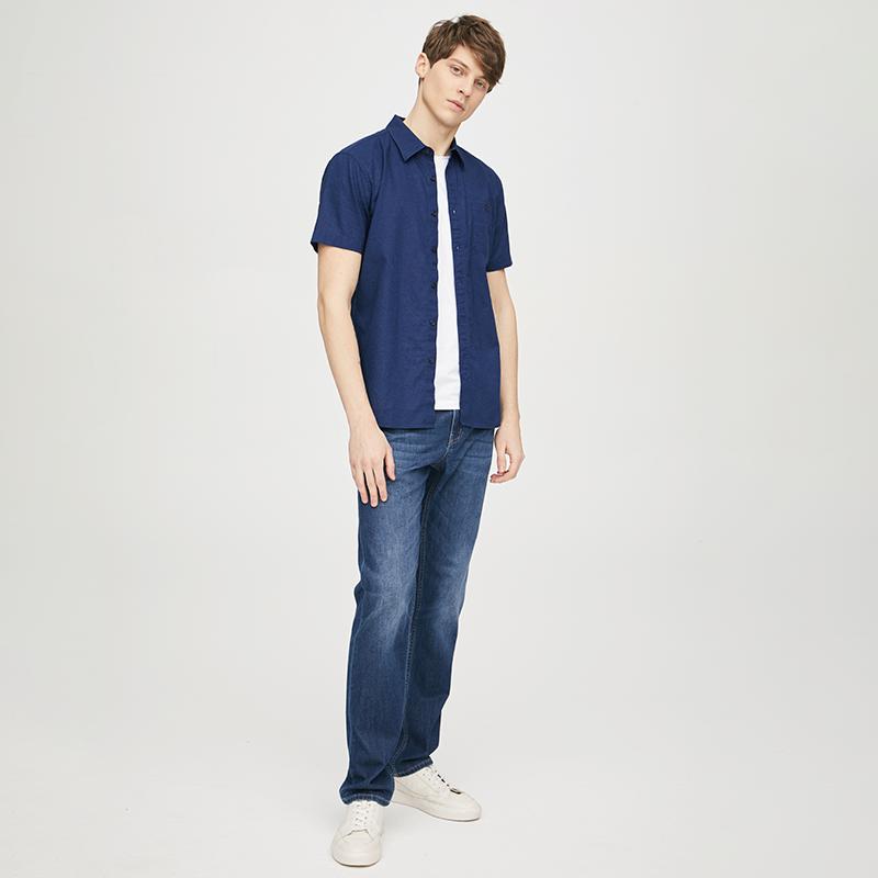 男式棉麻休闲短袖衬衫