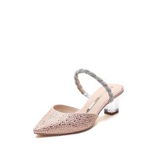 STACCATO 思加图 仙女风透明跟婚鞋包头凉鞋女9PV37AH1 粉色 37