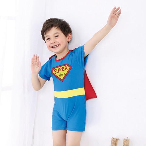 男童防晒连体游泳衣小中童婴儿平角冲浪沙滩宝宝温泉泳装表演服