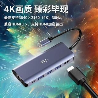 爱国者(aigo)Type-C扩展坞H6通用苹果Mac华为笔记本手机USB-C转HDMI线转换器4K投屏转接头PD充电(深空灰)