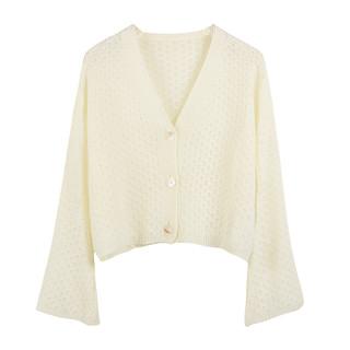 弥古镂空防晒衣针织开衫女夏短款白色长袖上衣空调衫外套薄款外搭